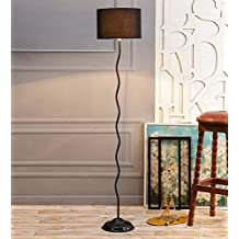 Black Drum Cotton Zig Zag Floor Lamp /Standing Lamp By New Era For Living Room /Drawing Room/Office/Bedroom/Decoration /Corner/Gift/Lobby