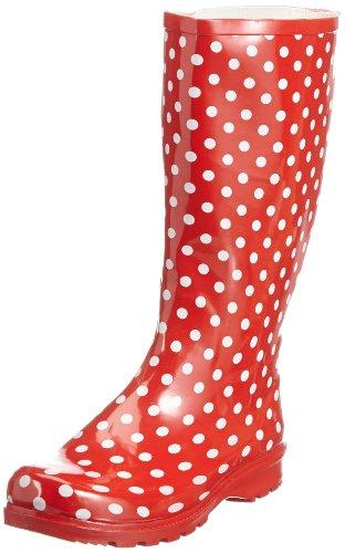Playshoes Gummistiefel Punkte aus Naturkautschuk 190100, Damen Gummistiefel, Rot (rot 8), EU 37