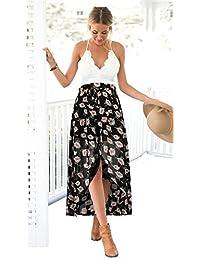 Vruan Beach ärmelloses Sommerkleid für Frau Blumen Chiffon Backless Sundress Spitze Casual BOHO Kleider 3 Farbe