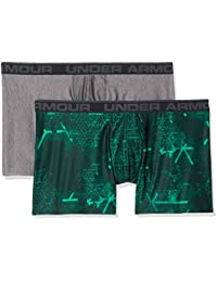 Under Armour, O-Series 6in Boxerjock 2pk Novelty, Boxer, Hombre, Green Malachite/Charcoal Light Heather, Large