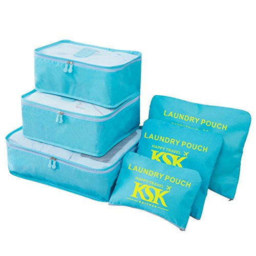 HongyuTing Set de Organizador de Equipaje 6 Piezas de Viajes Impermeables Packing Cube ultraligeros Nylon set de bolsa