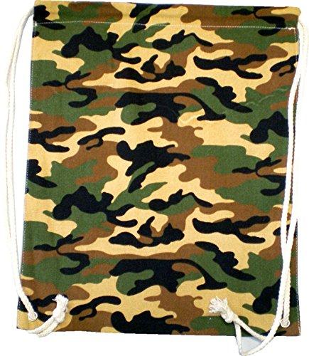 Sacs Sac à dos homme femme Hipster Enfant Sac Gym Sac tarnfarbend Turn Sac toile sac marin Plastique - Camo Wood 4775