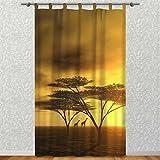Clever-Kauf-24 Vorhang Gardine für Das Kinderzimmer Afrika Giraffe BxH 145 x 245 cm | Sichtschutz | Lichtdurchlässig | Schlaufenschal Nicht Nur für Großwildjäger