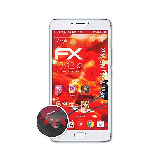 atFolix Schutzfolie passend für Meizu M3 Max Folie, entspiegelnde & Flexible FX Bildschirmschutzfolie (3X)