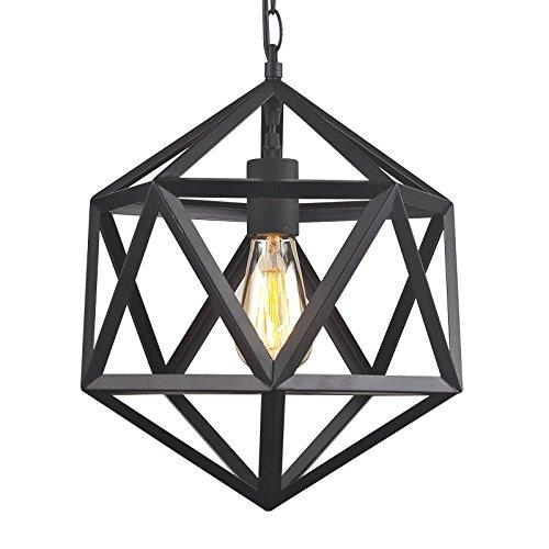 KHSKX Geometria-ad angolo taglio sfaccettato Lampadario diameter 45 cm - Vintage Sfaccettato Nero Vetro