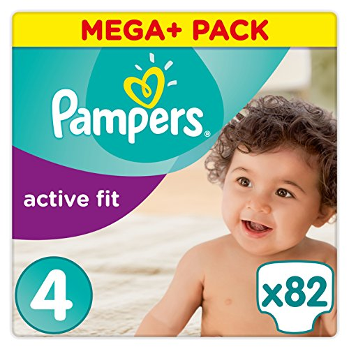 Pampers Active Fit Windeln, Gr. 4 (8-16 kg), Mega Plus, 1er Pack (1 x 82 Stück)