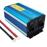 Yinleader Sinusoidal Reiner Wechselrichter 2500 W für Auto, 5000 W (Maximum) Transformator 12 V A 230 V, Inverter mit 2 Steckdosen + USB und LED-Display, für Auto, Wohnmobil, Boot, Camping