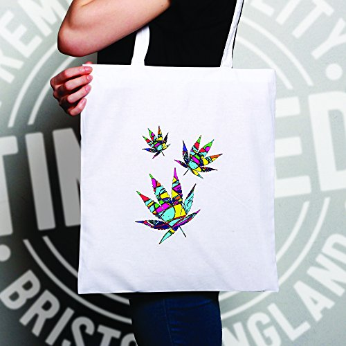 Cannabis Foglie colorate marijuana Trippy Weed fresco Sacchetto Di Tote Natural