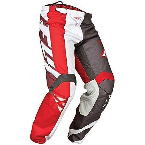 Fly 2015 Motocross / MTB Pantaloni - Kinetic Division Grigio Rosso Bianco - 30 (EU 46)