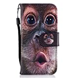 Slynmax iPhone 5 Phone Case,iPhone SE Leather Case,iPhone 5s Wallet Case, Magnetic Flip Folio Leather PU Animal Series Wallet Case Drawing Funny Orangutan Design Shockproof Cover