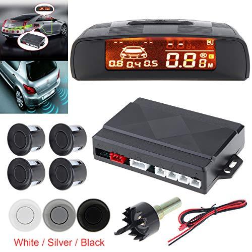 Rivelatore radar epathchina universal car auto kit di parcheggio monitor, 4sensori di allarme spia di retromarcia di backup radar system, full distanza display lcd digitale (nero)