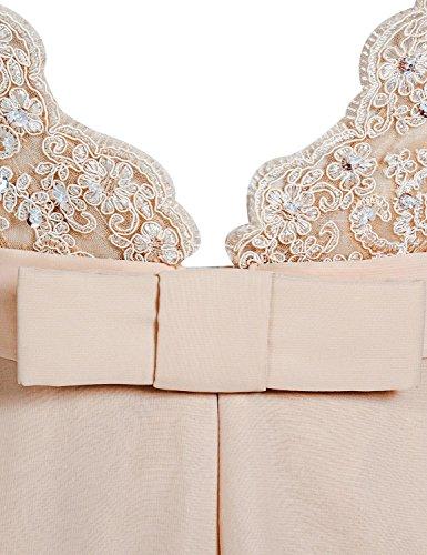 Sarahbridal Damen Lang Abendkleider Chiffon und Spitze Rueckenfrei Partykleider Ballkleid SSD251 Nude