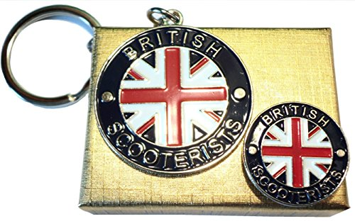 British SCOOTERIST Union Flagge Scooter Badge & Schlüsselring Mod Metall Emaille Set -