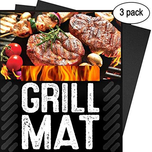 XiDe Grillmatte 3er Set Premium Grillmatten zum Grillen und Backen Teflon Antihaftbeschichtung Backmatte Wiederverwendbar und Spülmaschinenfest Ideal für Gas Kohle Elektrogrill Ofen 40x33 cm - Hitze-beweis-matte