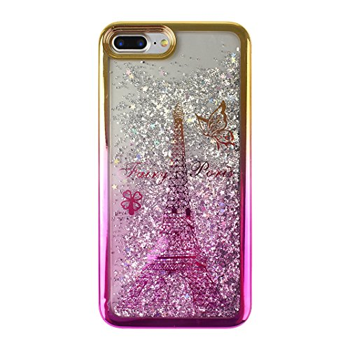 Étui iPhone 7 Plus Coque Liquide Sables Mouvants, Moon mood® Luxury Pente Gradient Case Fashion Housse pour iPhone 7 Plus Silicone Coque de Protecteur Apple iPhone 7 Plus (5.5 pouces) Transparent Crys Style -3