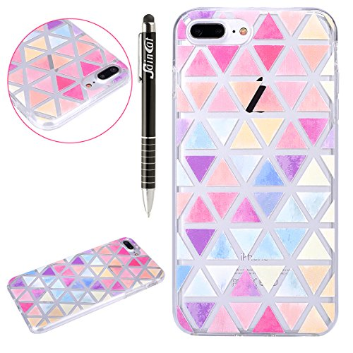 SainCat Coque Housse pour Apple iPhone 7 Plus,Transparent Brillante Coque Silicone Etui Housse,iPhone 7 Plus Silicone Case Soft Gel Cover Anti-Scratch Transparent Case TPU Cover,Fonction Support Prote Colorful triangle