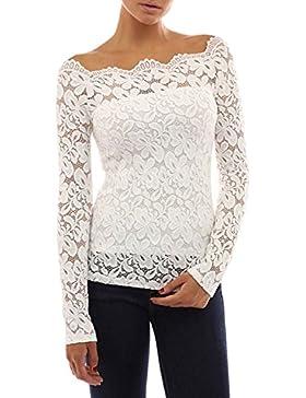 Tkiames Mujeres Camisetas Manga Larga Blusas de Encaje Flores Lace Crochet Sin Tirantes Camisas Shoulder Off Lace...