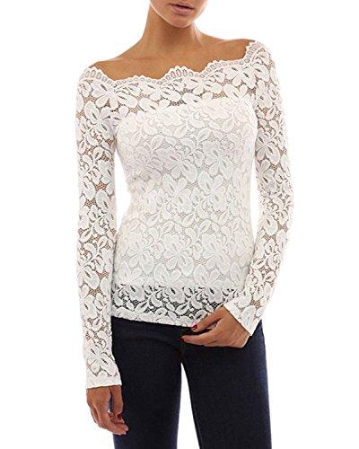 33a97b9927 Tkiames Mujeres Camisetas Manga Larga Blusas de Encaje Flores Lace Crochet  sin Tirantes Camisas Shoulder Off ...