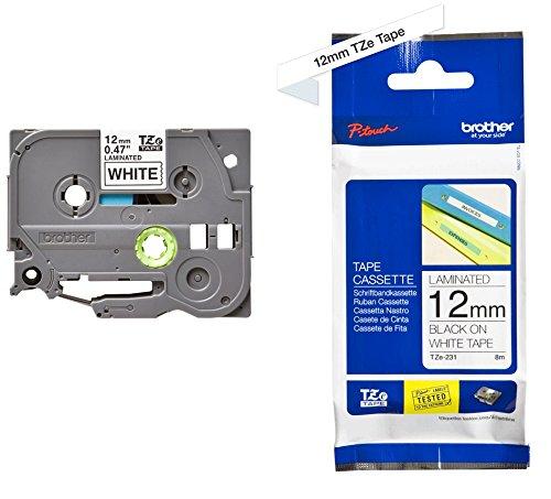 Brother TZe-231 P-touch Schriftband (12mm breit, 8m lang, u.a. für Brother PT-H100LB/R, H105, E100/VP, D200/BW/VP, D210/VP, laminiert) schwarz auf weiß
