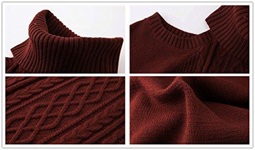 Moda Donna Vestito di maglione invernale Involucro sottile sexy sottile della spalla Vestito tunicato a maglia di tunica rosso wine