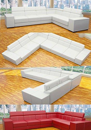 ::: MODELL HAPPY DESIGNER SOFA / ECKE, WOHNLANDSCHAFT: 3LUXUSTEILE MESSENEUHEIT !!! IN LEDER LOOK, KOSTENLOSER VERSAND in AT & DE ! BERATUNG: Tel: 0043(1)715-16-16, (Mo. bis Fr. 9.30 bis 15 Uhr) oder E-Mail: office.at@vienna-international-furniture.com :::