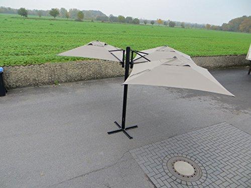 Madison Gastronomie Gartenschirm 'Murano III' mit drei separat verstellbaren Schirmen in taupe, UV-Schutz 40 Plus