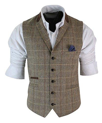 Herren Sakko Oder Weste Brown Vintage Kariert Fischgräte Tweed Design Retro (Sakko, Braunes)