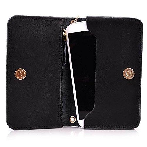 Kroo Pochette Cou en cuir fait avec dragonne pour Smartphone 12,7cm Housse de transport Compatible avec LG Magna/g4C Marron - marron noir - noir