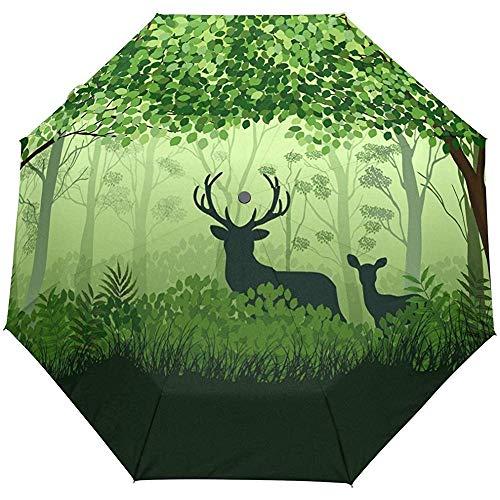 Winter Frühling Neujahr Elk Deer Auto Öffnen Schließen Regenschirme Anti UV Folding Compact Automatic Umbrella