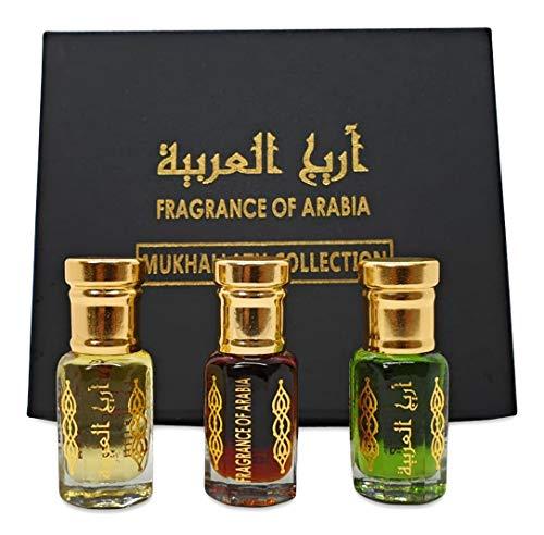 Zahra Al khaleej, muschio nero super intenso, bianco Oudh set di 6 ml collezione ideale regalo