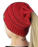 Chickwin Gestrickte Winter Mütze / Strick Beanie / Strickmütze sehr weichem Fleece Innenfutter Modedesign heiß (Rot)