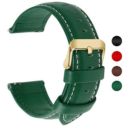 Fullmosa 12 Farben Uhrenarmband, Axus Serie Lederarmband Ersatz-Watch Armband mit Edelstahl Metall Schließe für Herren Damen 20mm,Dunkelgrün mit golden Schnalle