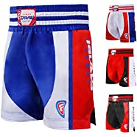 Farabi Boxing Muay Thai , MMA , martial arts fitness kickboxing gym shorts (Blue/Red, Large)