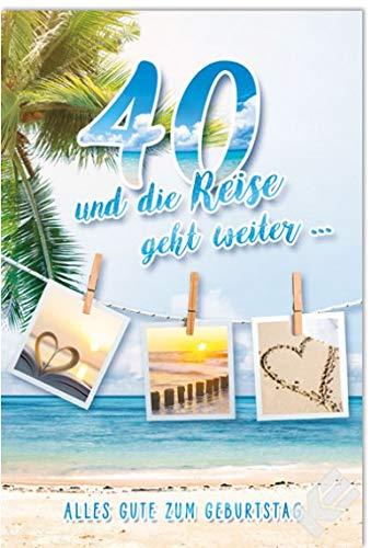 """Karte zum 40. Geburtstag\""""Reise\"""", B6 + Umschlag"""