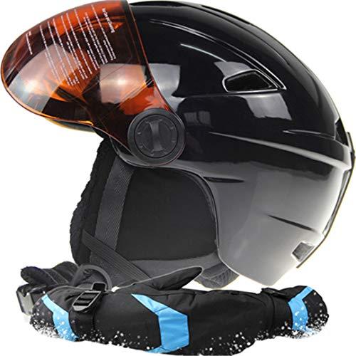 Premium Marke Mann/Frau Skihelm Skibrille Handschuhe Snowboard Helm Moto Klettern Sport Sicherheit Skateboard Snowmobile Maske Black L 58-61 cm