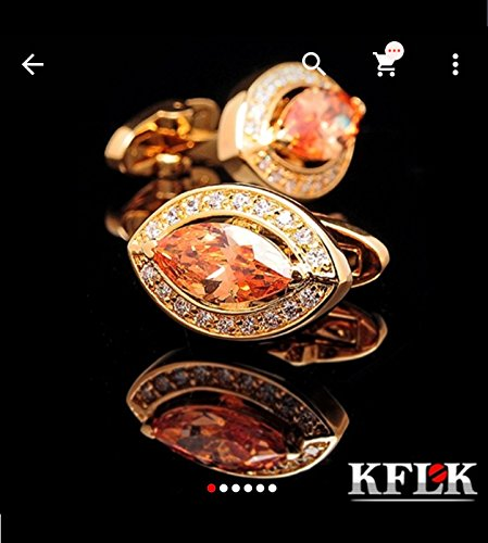Cuff-Daddy-Gemelli da uomo con cristalli, colore: zaffiro ovale sfaccettato in oro 18 k, con diamanti