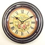 METALL-Wanduhr ROSEN-MOTIV 21,5cm Landhaus Rose Nostalgie Uhr - Römische Ziffern