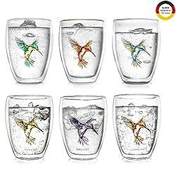 Creano doppelwandiges Teeglas Hummi, Latte Macchiato, Thermoglas mit Kolibri im 6-er Set, 250 ml, in den Farben blau/rot/grün/orange/lila/gelb