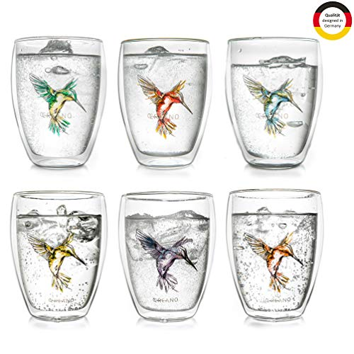 Creano doppelwandiges Teeglas Hummi, Latte Macchiato, Thermoglas mit Kolibri im 6-er Set, 250 ml, in den Farben blau / rot / grün / orange / lila / gelb