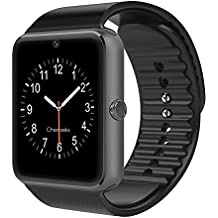 "LaTEC Reloj inteligente de pulsera, con Bluetooth, cámara, ranura para SIM y ranura para tarjeta micro SD, podómetro, pantalla táctil LCD de 1.54"", Reloj inteligente de pulsera para Smartphones de Android (Negro)"
