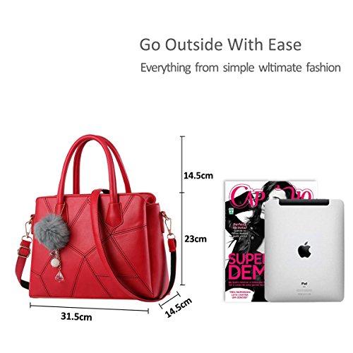 NICOLE&DORIS Mode Frauen Crossbody Handtasche Commuter Tasche Schultertasche PU Rosa Groß Rot