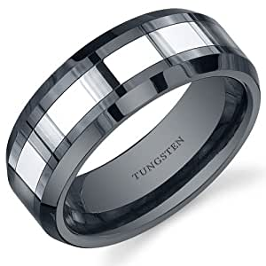Revoni Beveled Edge 8mm Comfort Fit Mens Black Ceramic and Tungsten Combination Wedding Band Ring Size S 1/2,