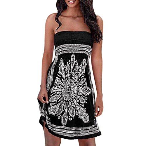 UFACE Ärmelloses Kleid aus Chiffon mit Rundhalsausschnitt Frauen Strapless Floral böhmischen Casual Outdoor (XL, Schwarz)