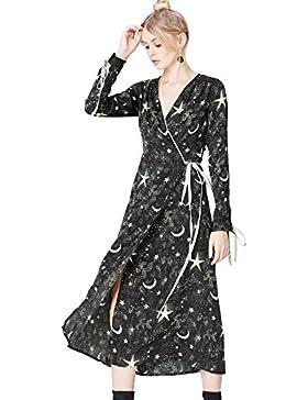 FIND Vestito Modello Kimono Stampa a Stelle Donna