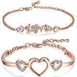 #10: Valentine Gift_Om Jewells Rose Gold White Crystal Studded Combo of Alluring Hearts and Love Bangle Bracelet for Girls and Women CO1000088