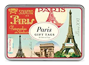 Cavallini & Co. Paris Glitter Gift Tags in a Tin - Assorted (Pack of 36)