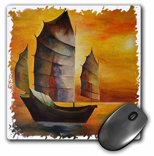 3drose 20,3x 20,3x 0,6cm Mauspad chinesischen Junk–Segelboot, Acryl Malerei, Segel, Deko, Seascape, Kubismus, Seeleute, nautisches (MP 63141_ 1)