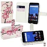 Emartbuy® Vodafone Smart Speed 6 Premium PU Leather Funda Wallet Soporte Carcasa Case Cover PU Cuero Rosa Blossom con Tarjeta de Crédito Slots