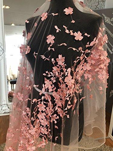 bridallaceuk KN31 Brautkleid, Spitze, 3D-Blumenmuster, Bestickt mit Blumen, Spitze, 140 breit, Rosa,...