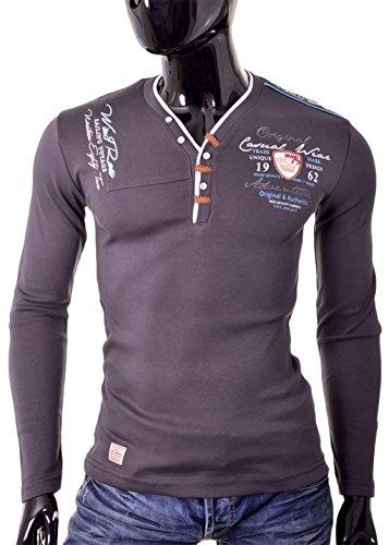 D&R Fashion Männer T-Shirt Slim Fit mit V-Ausschnitt Klare Farben 100% Baumwolle in allen Größen Grau
